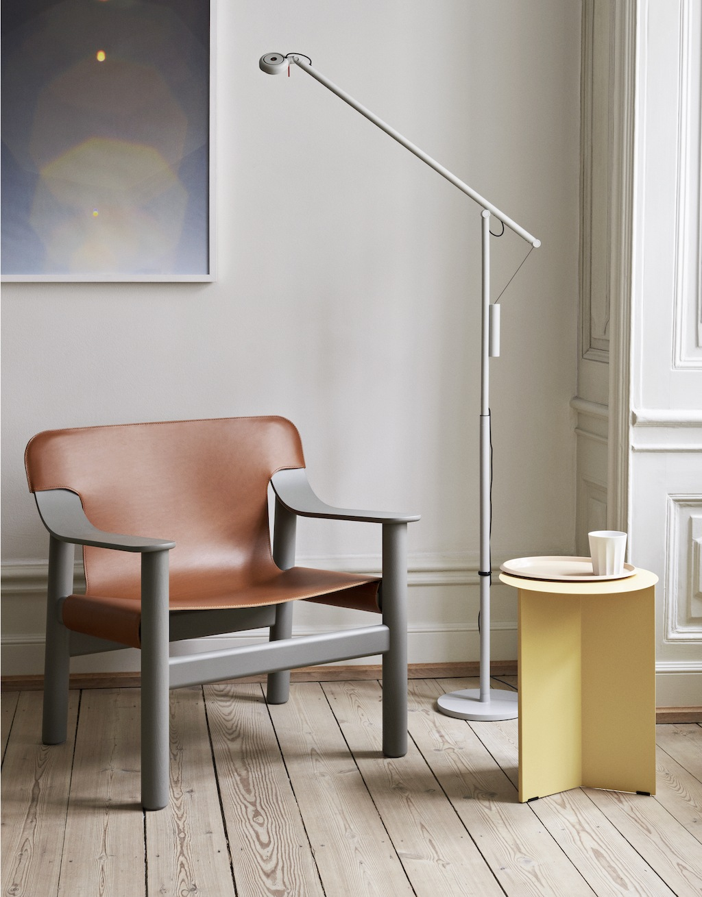 Bernard beige grey base brandy leather cover_Fifty-Fifty Floor Lamp light grey_Slit Table High light yellow(1)