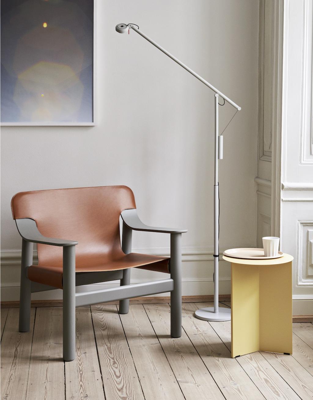 Bernard beige grey base brandy leather cover_Fifty-Fifty Floor Lamp light grey_Slit Table High light yellow(1)