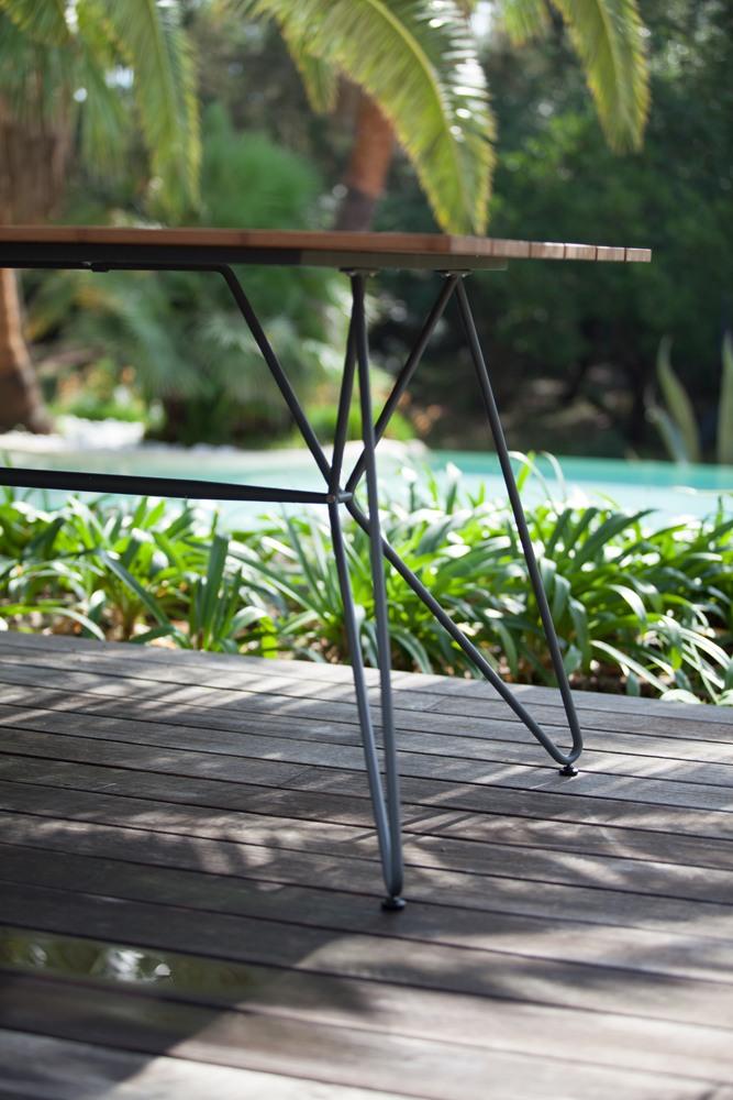 Houe Sketch Outdoor Tisch im Vordergrund, im Hintergrund Pool und Pflanzen