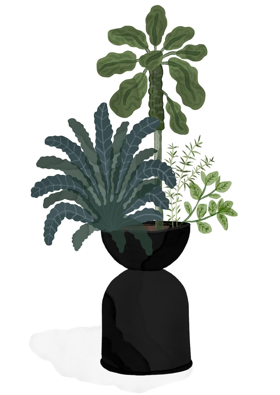 Outdoor Plant Guide, Hourglass Blumentopf, Grünkohl, Rosmarin, ferm LIVING