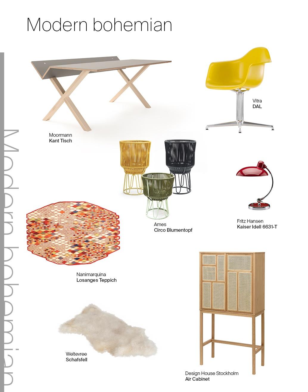 Ein Möbel, drei Looks: Moormann Kant Schreibtisch und Modern Bohemian