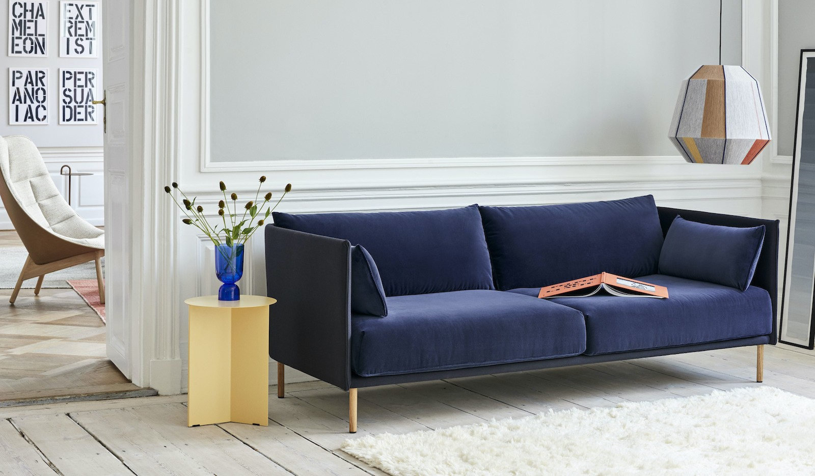 Silhouette Sofa Duo 3 seater back Steelcut Trio 195 cushions Lola navy oiled oak legs_Slit Table High light yellow_Bonbon earth tones