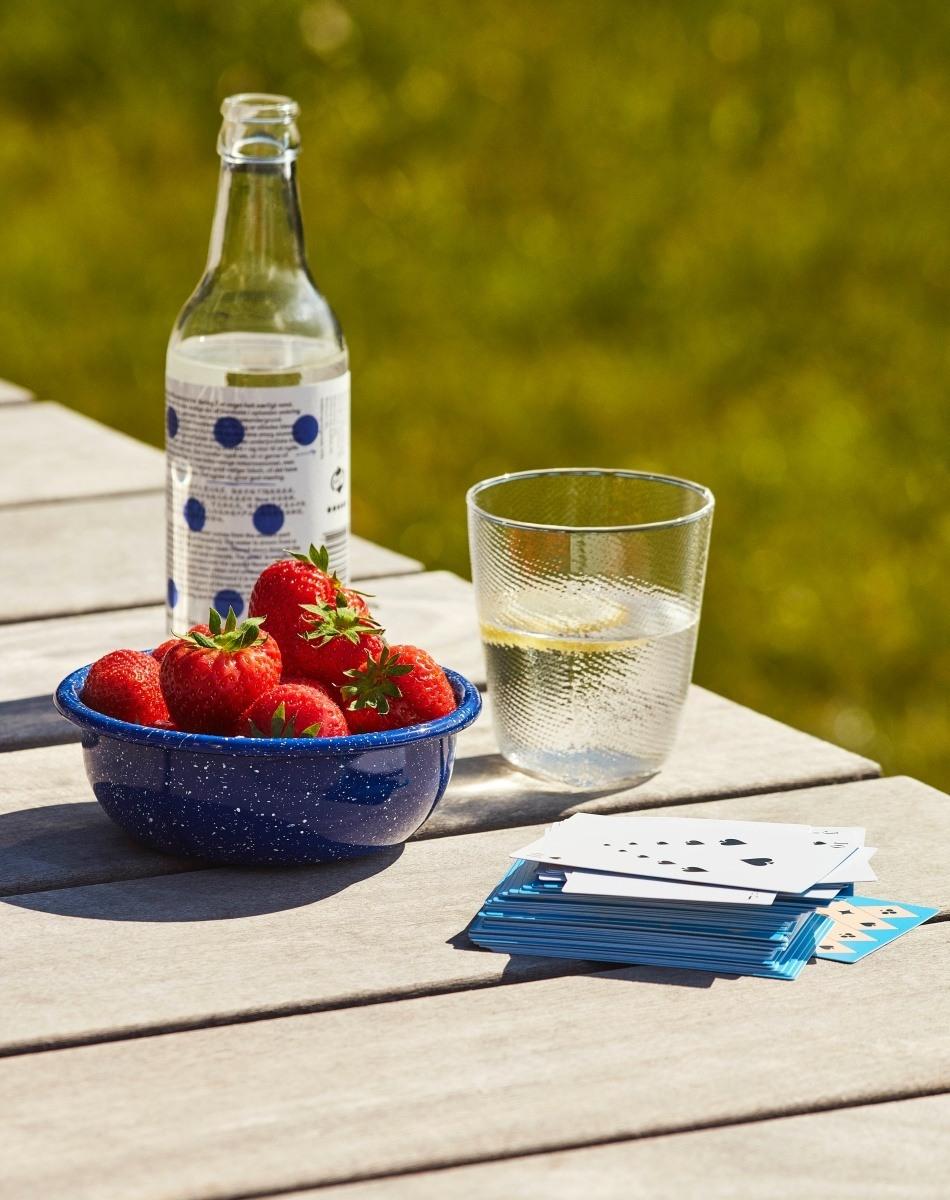 Outdoor Moodbild. Emailleschale mit frischen Erdbeeren, eine Flasche Wasser + Glas und ein Stapel Spielkarten