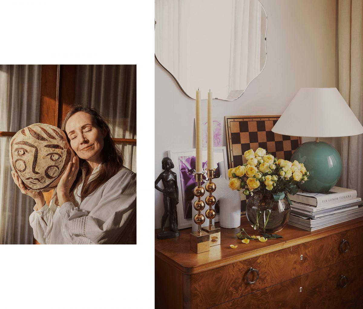Homestory mit FermLIVING und Linda Ring. 2 Bilder. Auf dem linken Bild hält eine Frau ein rundes Brot hoch und lehnt ihren Kopf lächelnd und mit geschlossenen Augen an ihn. Bild 2: antike Kommode. Darauf stehen unter anderem 2 Kerzenhalter, eine Glasvase mit gelben Rosen und eine Tischleuchte.
