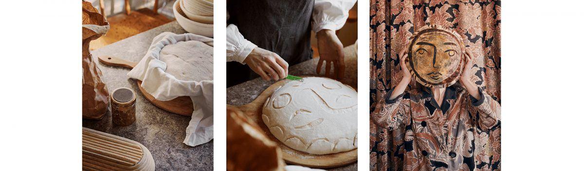 Homestory mit FermLIVING und Linda Ring. Prozess der Brotkunstherstellung in drei Bildern. BIld1: Der gehende Teig in einem Tuch im Gärkorb. Bild 2: In den Brotlaib wird mit einer Klinge ein Gesicht geschnitten. Bild 3: Linda hält den gebackenen Brotleib vor ihr Gesicht.