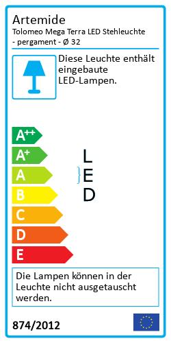 Tolomeo Mega Terra LED Stehleuchte - pergamentEnergielabel