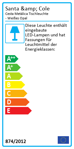 Cesta Metálica TischleuchteEnergielabel