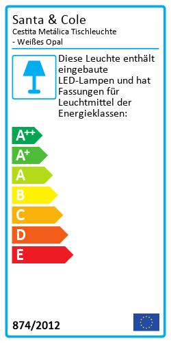 Cestita Metálica Tischleuchte - Weißes OpalEnergielabel