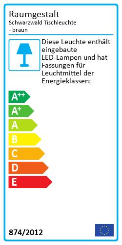 Schwarzwald Tischleuchte - braunEnergielabel