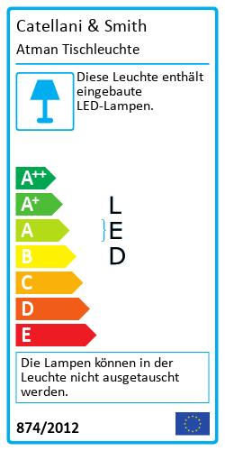 Atman Tischleuchte Energielabel