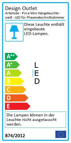 Artemide - Pirce Mini Hängeleuchte - weiß - LED für PhasenabschnittsdimmerEnergielabel