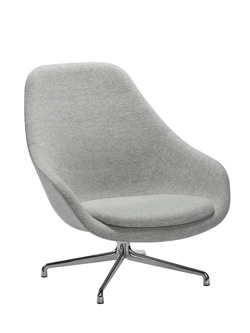 HAY About A Lounge Chair High AAL 91 - Hallingdal 457 - Gestell Aluminium poliert WIDTH=